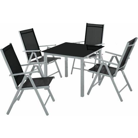 Garden Table and chairs furniture set 4+1 - outdoor table and chairs, garden table and chairs set, patio set - dark grey