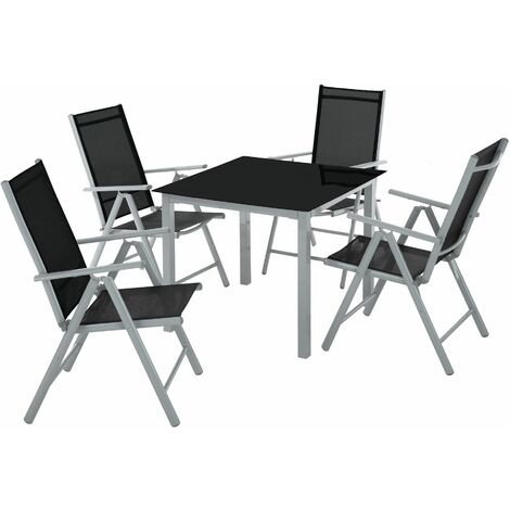 """main image of """"Garden Table and chairs furniture set 4+1 - outdoor table and chairs, garden table and chairs set, patio set - silver/gray"""""""