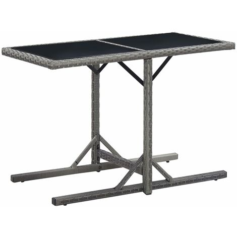 Garden Table Anthracite 110x53x72 cm Glass and Poly Rattan