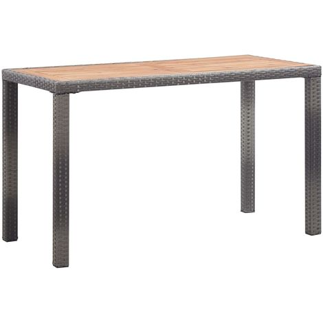 Garden Table Anthracite and Brown 123x60x74 cm Solid Acacia Wood