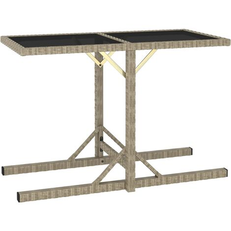 Garden Table Beige 110x53x72 cm Glass and Poly Rattan