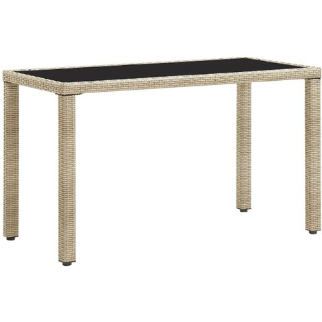 Garden Table Beige 123x60x74 cm Poly Rattan - Beige