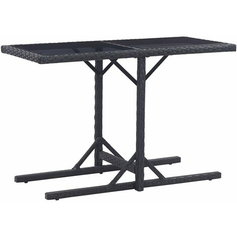 Garden Table Black 110x53x72 cm Glass and Poly Rattan