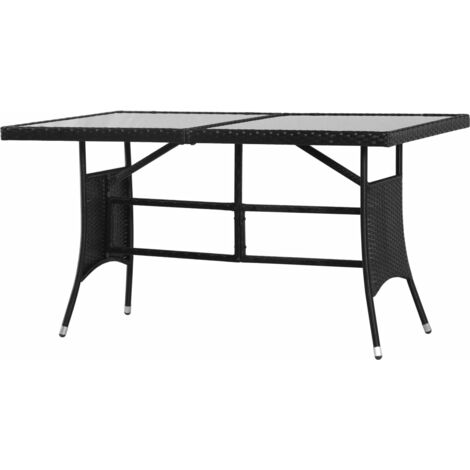 Garden Table Black 140x80x74 cm Poly Rattan