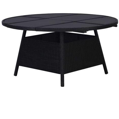 Garden Table Black 150x74 cm Poly Rattan