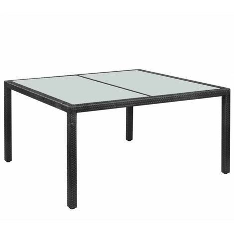 Garden Table Black 150x90x75 cm Poly Rattan