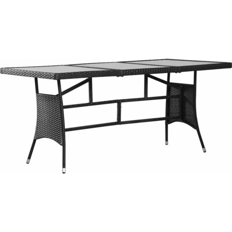 Garden Table Black 170x80x74 cm Poly Rattan
