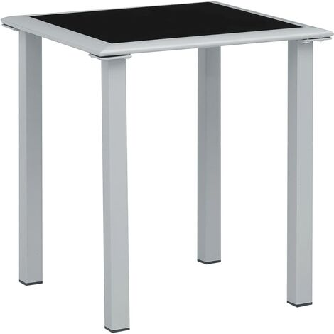 """main image of """"Garden Table Black and Silver 41x41x45 cm Steel and Glass23294-Serial number"""""""