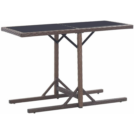 Garden Table Brown 110x53x72 cm Glass and Poly Rattan