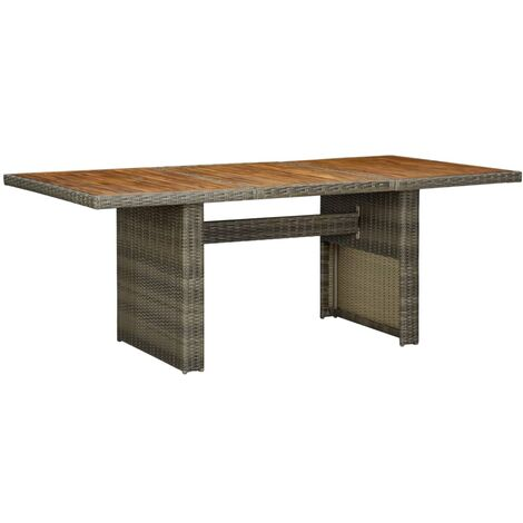 Garden Table Brown Poly Rattan and Solid Acacia Wood
