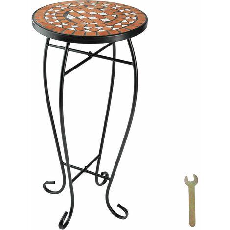 Garden table flower stool mosaic - outdoor table, small garden table, round garden table