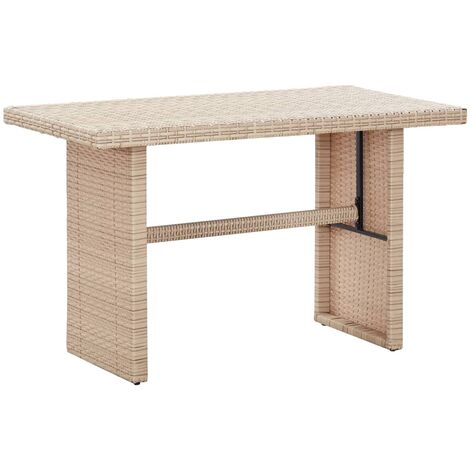 Garden Table Grey 110x60x67 cm Poly Rattan