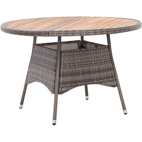 Garden Table Grey 115x74 cm Poly Rattan and Acacia Wood
