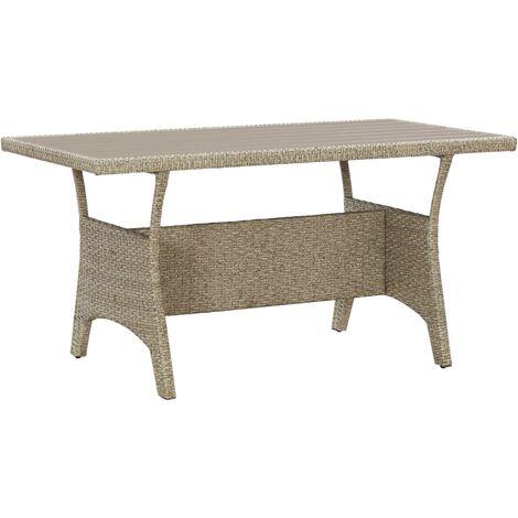 Garden Table Grey 130x70x66 cm Poly Rattan