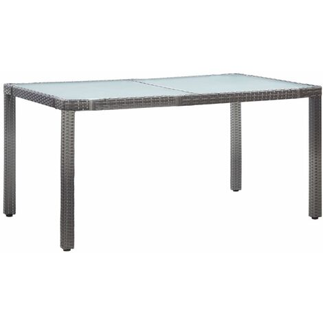 Garden Table Grey 150x90x75 cm Poly Rattan