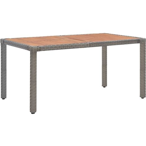 Garden Table Grey 150x90x75 cm Poly Rattan and Solid Acacia Wood - Grey