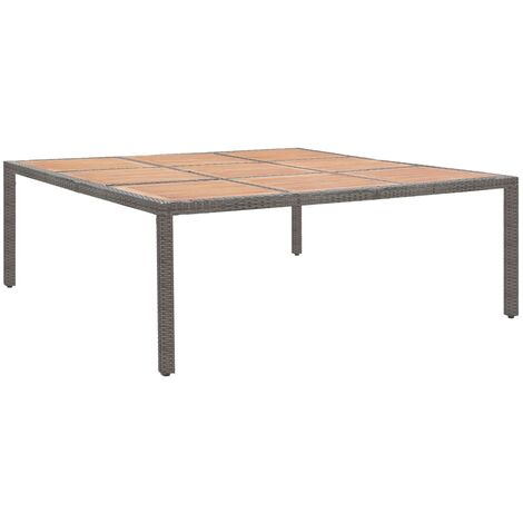 Garden Table Grey 200x200x74 cm Poly Rattan and Acacia Wood