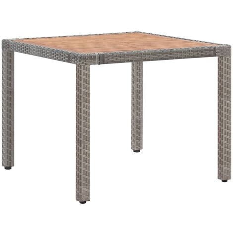 Garden Table Grey 90x90x75 cm Poly Rattan and Solid Acacia Wood