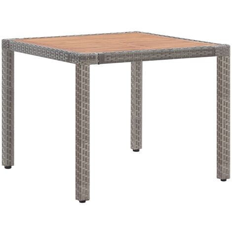 Garden Table Grey 90x90x75 cm Poly Rattan and Solid Acacia Wood - Grey