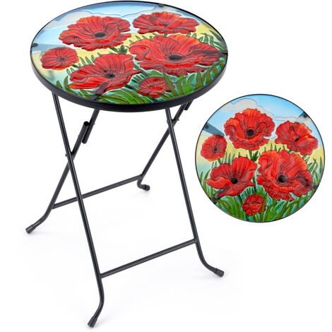 Garden Table Round Glass Top Folding Outdoor Patio Decoration Christow