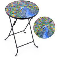 Garden Table Round Glass Top Folding Outdoor Patio Decoration Peacock Christow