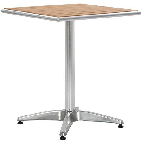 Garden Table Silver 60x60x70 cm Aluminium and WPC