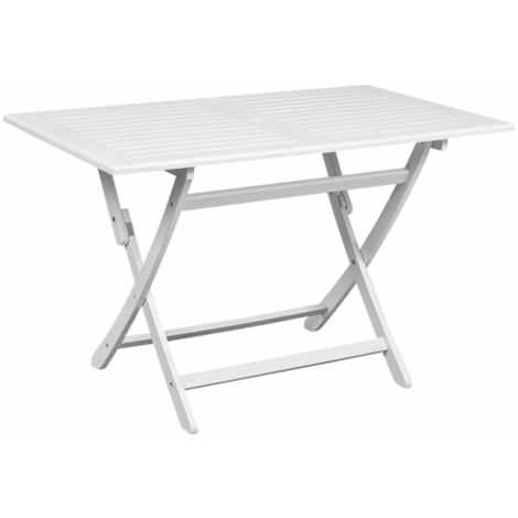 Garden Table White 120x70x75 cm Solid Acacia Wood