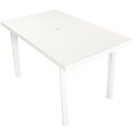 Garden Table White 126x76x72 cm Plastic