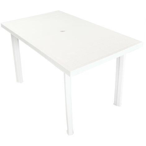 Garden Table White 126x76x72 cm Plastic - White