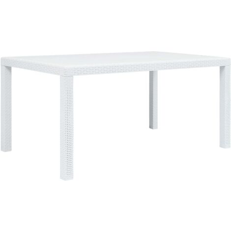 Garden Table White 150x90x72 cm Plastic Rattan Look