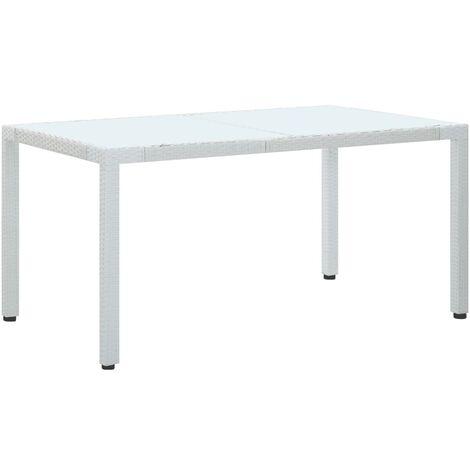 Garden Table White 150x90x75 cm Poly Rattan - White