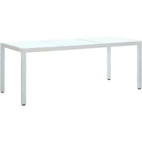 Garden Table White 190x90x75 cm Poly Rattan