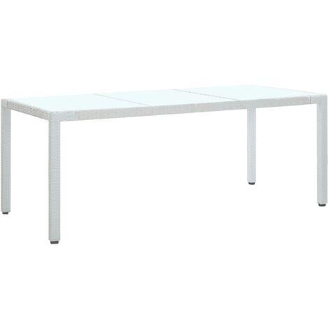 Garden Table White 190x90x75 cm Poly Rattan