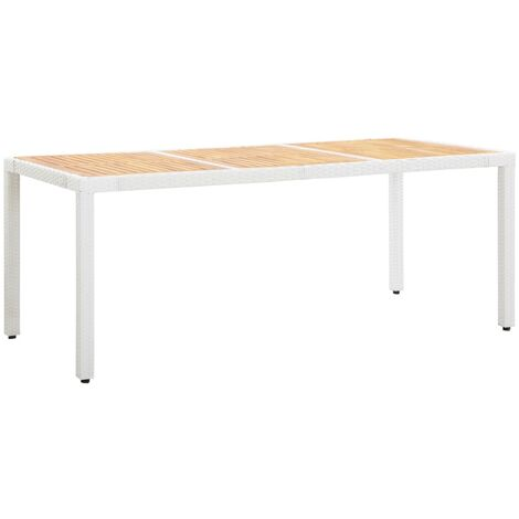 Garden Table White 190x90x75 cm Poly Rattan and Solid Acacia Wood