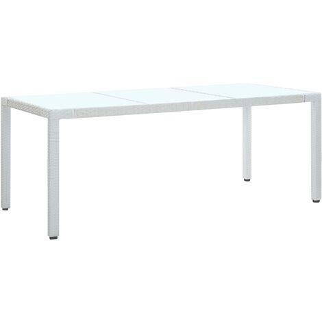 Garden Table White 190x90x75 cm Poly Rattan - White