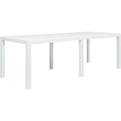 Garden Table White 220x90x72 cm Plastic Rattan Look