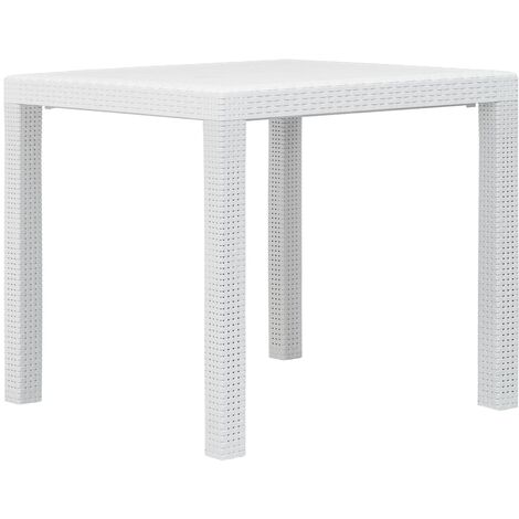 Garden Table White 79x79x72 cm Plastic Rattan Look