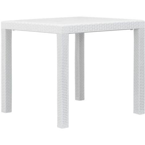 Garden Table White 79x79x72 cm Plastic Rattan Look - White