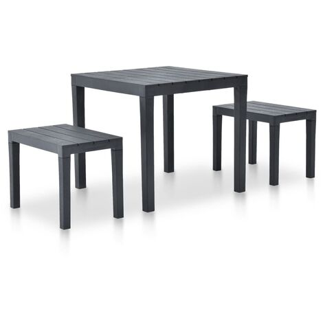 Garden Table with 2 Benches Plastic Anthracite