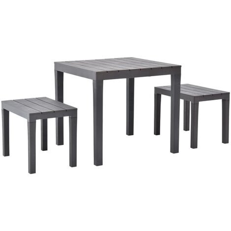 Garden Table with 2 Benches Plastic Brown