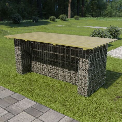 Garden Table with Steel Gabion FSC Pinewood 180x90x74 cm