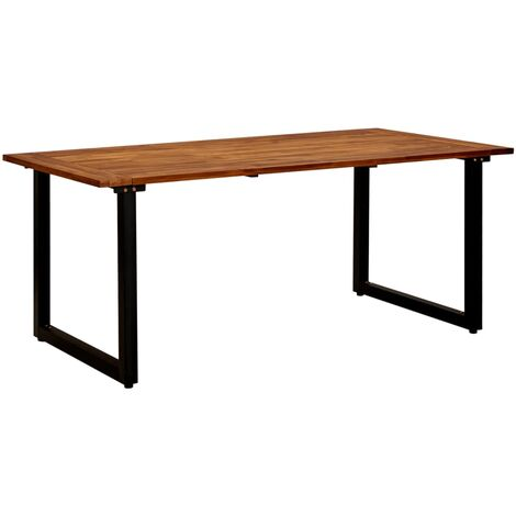 Garden Table with U-shaped Legs 180x90x75 cm Solid Acacia Wood