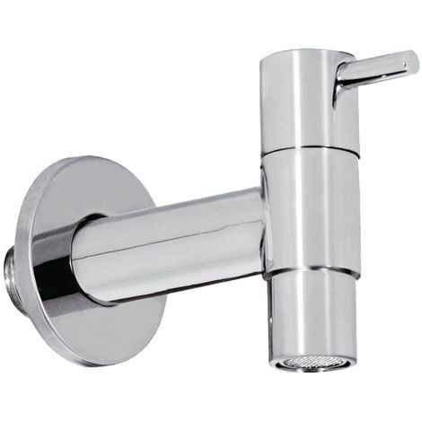 Garden Tap with Aerator Modern Looking Cold Water Outdoor Chrome Plated