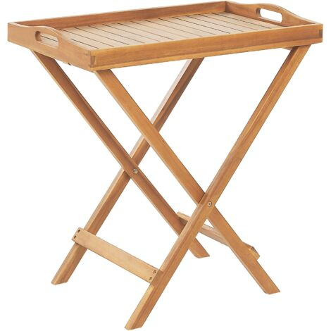 Garden Tea Table Folding Tray Top Light Acacia Wood Java