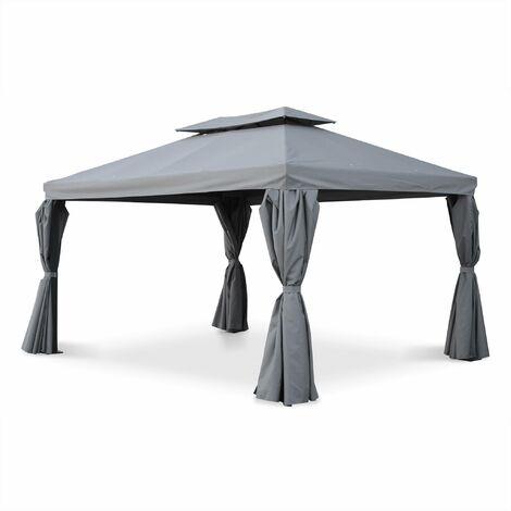 Garden tent, Divodorum 3x4m grey aluminium pergola with sliding