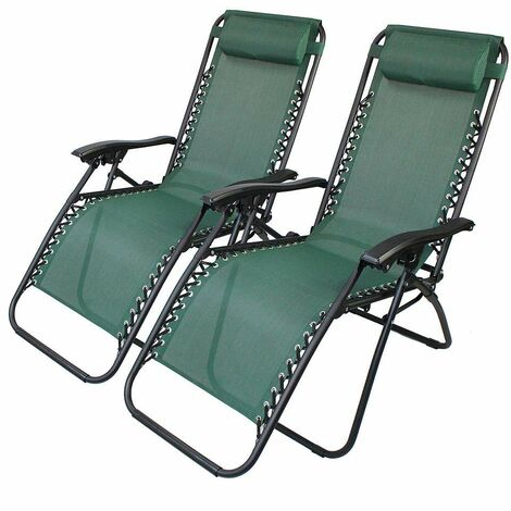 Garden Textilene Relaxer, Foldable Zero Gravity Chair, 165 x 112 x 65 cm (65 x 44 x 25.6 inch), Green, Textilene, Pack of 2, with Pillow, Maximum load: 100 kg