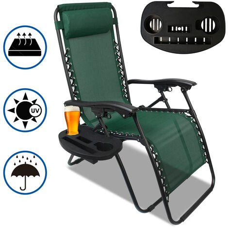 Garden Textilene Relaxer, Foldable Zero Gravity Chair, 165 x 112 x 65 cm (65 x 44 x 25.6 inch), Green, Textilene, With Cup holder, with Pillow, Maximum load: 100 kg