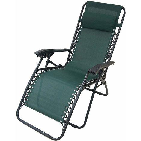 Garden Textilene Relaxer, Foldable Zero Gravity Chair, 165 x 112 x 65 cm (65 x 44 x 25.6 inch), Green, with Pillow, Textilene, Maximum load: 100 kg