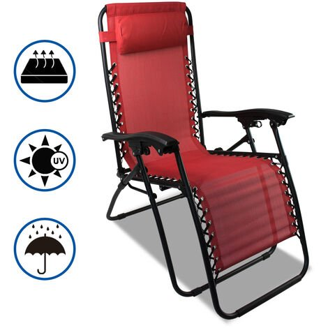 Garden Textilene Relaxer, Foldable Zero Gravity Chair, 165 x 112 x 65 cm (65 x 44 x 25.6 inch), Red, Textilene, with Pillow, Maximum load: 100 kg