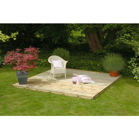 GARDEN TIMBER DECKING COMPLETE BASE DECK KIT PACK 1.8M X 1.8M WITHOUT RAILS